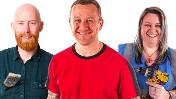 Woodcare expert Jimmy Englezos, presenter PJ Gallagher and TU lecturer in construction Jennifer Byrne
