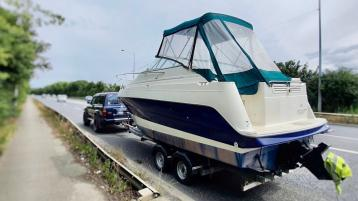 OOPS! No plain sailing for this driver who tries to push the boat out with this trailer