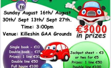 Drive-in bingo with €3,000 worth of prizes at Killeshin GAA Club